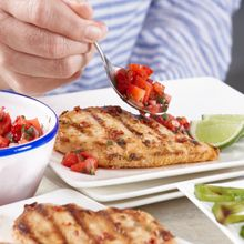 Grilled chicken served up tex mex style. Mix up a double batch of strawberry salsa to serve with tortilla chips.