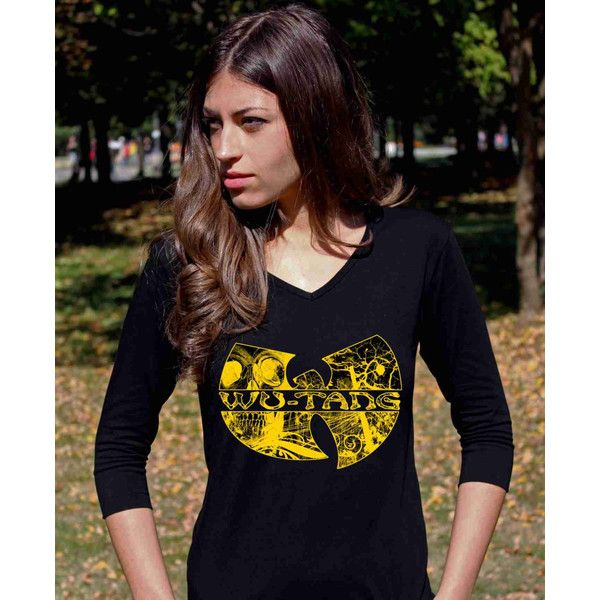 Wu Tang Shirt Wu Tang Shirts Wu Tang Clan Shirt Wu Tang Clothing Hip... (19 CAD) ❤ liked on Polyvore featuring tops, t-shirts, black, women's clothing, 3/4 sleeve tee, black checkered shirt, 3/4 length sleeve t shirts, v-neck shirts and black v neck tee