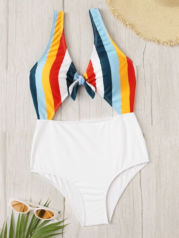 7ca475e09b Striped Cut-out Knot Front One Piece Swim | SHEIN | II TRENDY ON THE ...