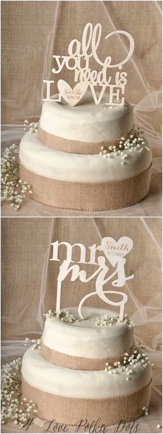Country wedding cakes pictures - Rustic Laser Cut Wedding Cake Toppers
