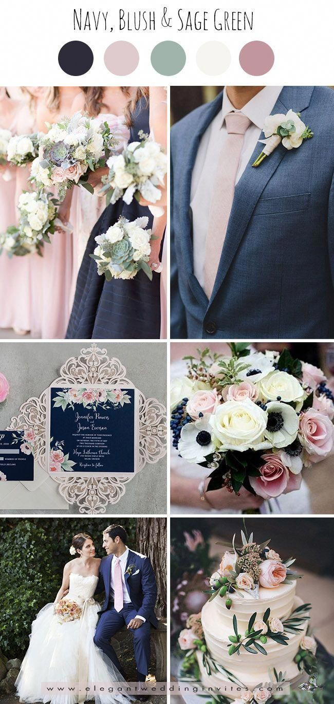 Classic Navy Blush Pink And Sage Green Wedding Color Palettes Pink Green Wedding Wedding Colors Blush Wedding Colors