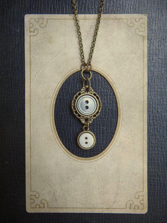 Pequeño botón Vintage collar - algo prestado, algo azul