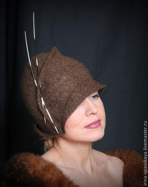 """Купить Клош """"Секрет"""" из коллекции """"Прошлые жизни"""" - коричневый, однотонный, дамская шляпка, клош, ретро"""