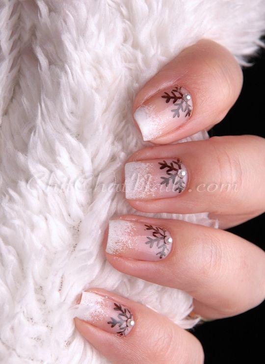 Winter nails. Snowflake Half-Moon