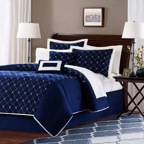 Navy/white -- bedding