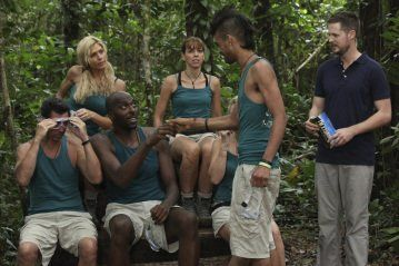 Still of Lou Diamond Phillips, Torrie Wilson, Damien Fahey and Sanjaya Malakar in I'm a Celebrity, Get Me Out of Here! (2003)