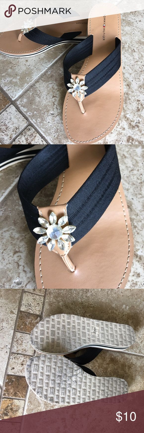 Tommy Hilfiger sandals Like new worn once Tommy Hilfiger sandal with crystal at top for a dressy casual look , very cute sandal for summer Tommy Hilfiger Shoes Sandals