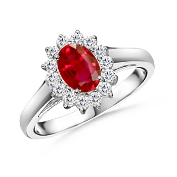 Angara Three Stone Ruby Halo Ring With Diamond Border in Platinum UPIaQnZ
