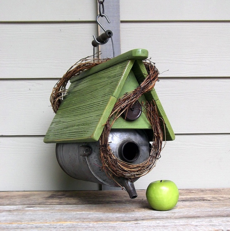 Vintage Gas Can Birdhouse, Whimsical Birdhouse, Lime Green, Outdoor Birdhouse, Recycled, Repurposed, Rustic Birdhouse, Galvanized Metal