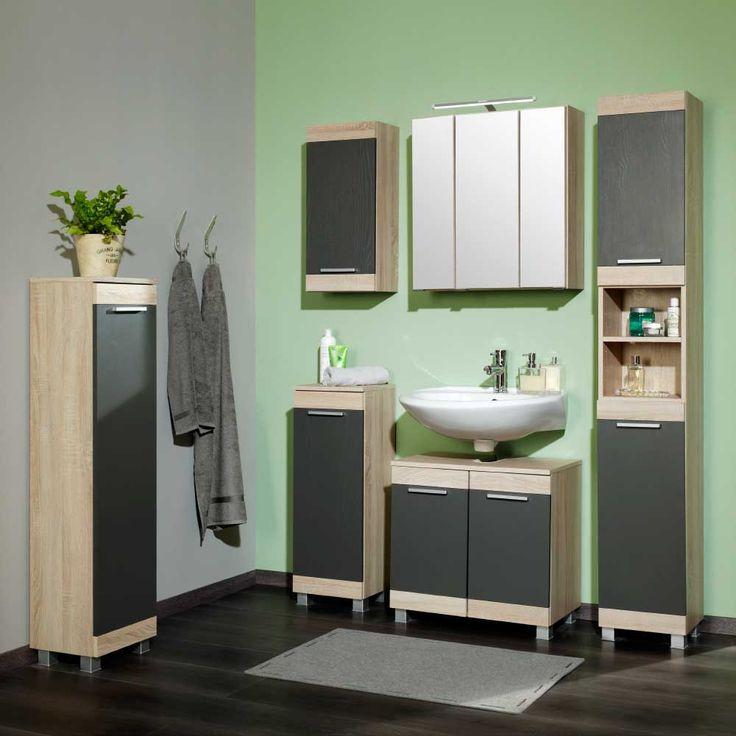Badezimmer Komplettset in Eiche dunkel Eiche Sonoma (6-teilig - badezimmer komplettset