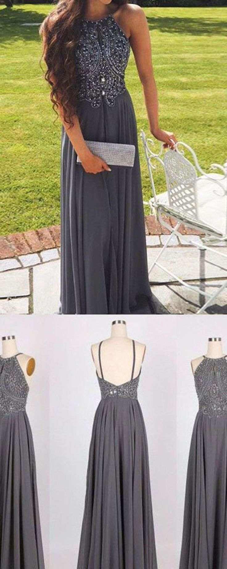 Hot Selling A-Line Prom Dress,Halter Gray Backless Prom Gown,Long Beading Prom Dress,Gray Evening Dress 2017,Prom Dresses