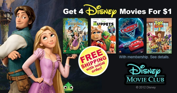 Join Disney Movie Club and Get 4 Movies for $1