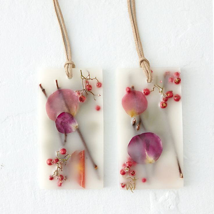 Pressed Flower Sachet, Apricot & Rose: Tuck these botanical wax sachets into a drawer, or hang in a closet with the attached suede cord, to spread the refreshing scents.