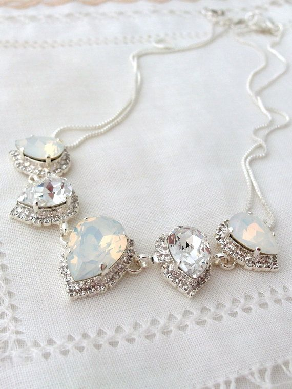 White opal and clear Swarovski crystal necklace | white wedding | crystal necklace | white opal necklace | statement necklace | EldorTinaJewelry on Etsy | http://etsy.me/1JeFeob