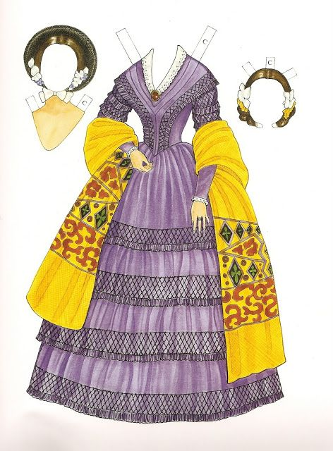 Godey's Early Victorian Fashions - Charlotte (1838 - 1858) | Gabi's Paper Dolls* For lots of free paper dolls International Paper Doll Society #ArielleGabriel #ArtrA thanks to Pinterest paper doll collectors for sharing *