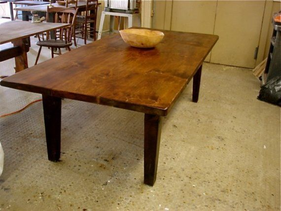 classic farm table with tapered legs