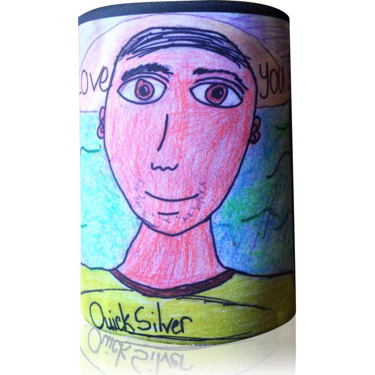 Kids art printed onto a stubby holder  www.personalisethis.com.au