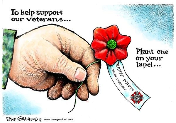 THANK YOU VETS! | Nov/11/15 Dave Granlund - Politicalcartoons.com - Veterans and Poppies -