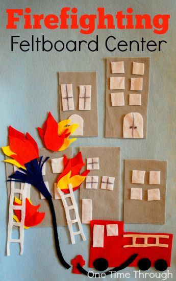 Awesome Fire themed Feltboard - part of the Fire Fighter Birthday Party: Hands-On Firefighting Play Ideas post at One Time Through.