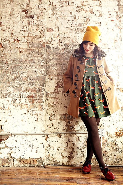 autumn, style, fashion, exposed brick, mustard bobble hat, duffle coat, fox print dress, outfit, fall