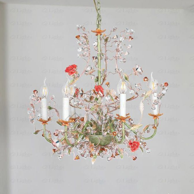 Glass chandelier with rose shaped elements | IDFdesign