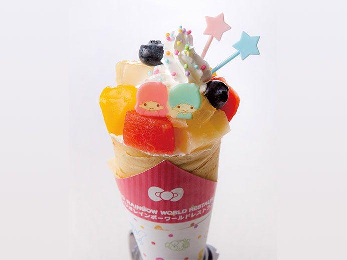 キキ&ララのトロピカルフルーツクレープ<br>650円(税込)サンリオレインボー ワールドレストラン