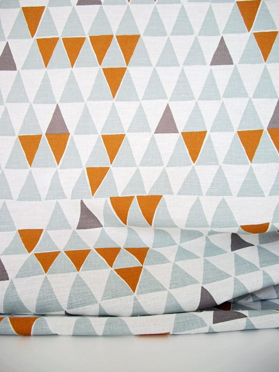 Swedish Scandinavian triangle pattern fabric - Per metre - Spira Jaffa Blue