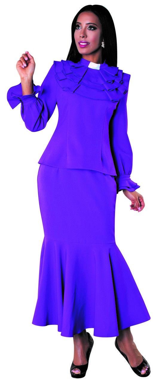e362c486cc5 01. Ladies 2-Piece Preaching Skirt Set In Purple - Divinity Clergy Wear