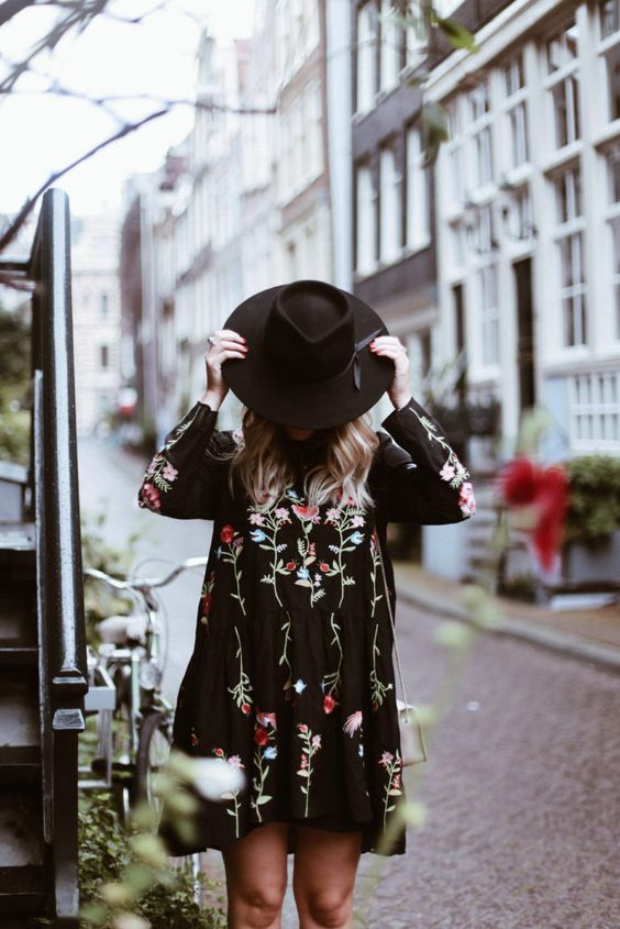love this black floral mini dress with black fedora