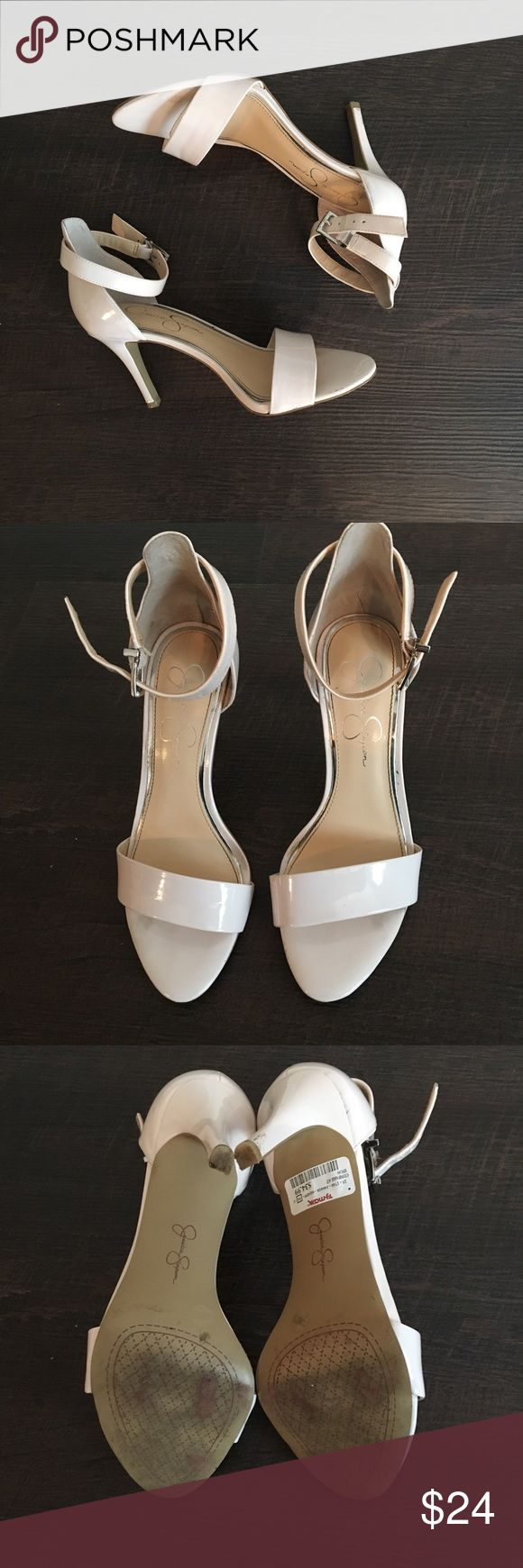 Nude/beige Jessica Simpson 2.5in heel sz:7.5 Good condition. Only worn 2x for weddings.    Would make a great bridesmaid shoe.    Jessica Simpson shoes are the best. Comfy and stylish.    Bought from Tj maxx.   Heel is 2.5 I'm. Easy to walk in. Jessica Simpson Shoes Heels