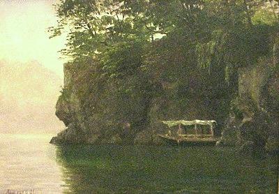 """""""The Boating Party"""" - Albert Bierstadt - Chazen Museum of Art"""