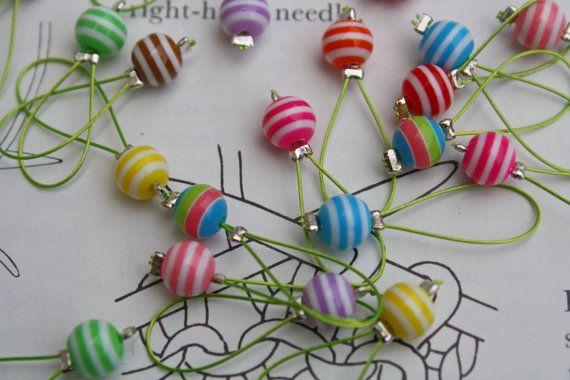14 Knitting stitch markers assorted mini by CraftyCatKnittyBits, £3.99 via Etsy