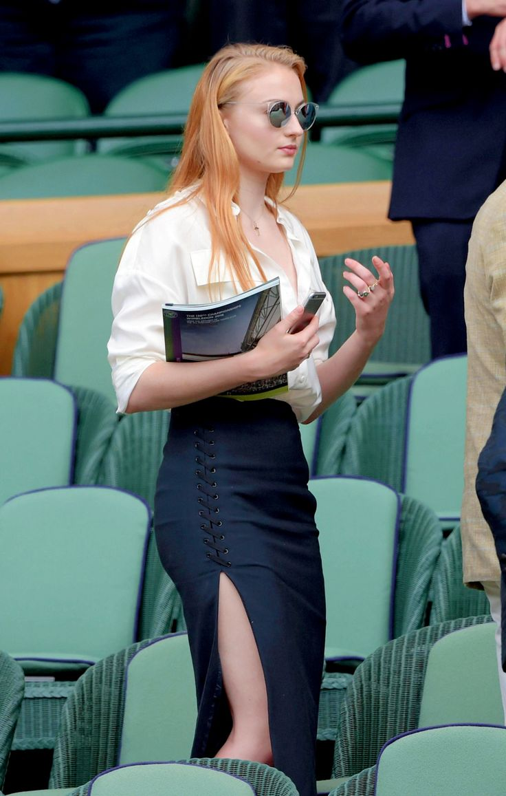 """ Sophie Turner at the SW19 Grounds of the Wimbledon Tennis Tournament in London, England on July 7, 2016 """