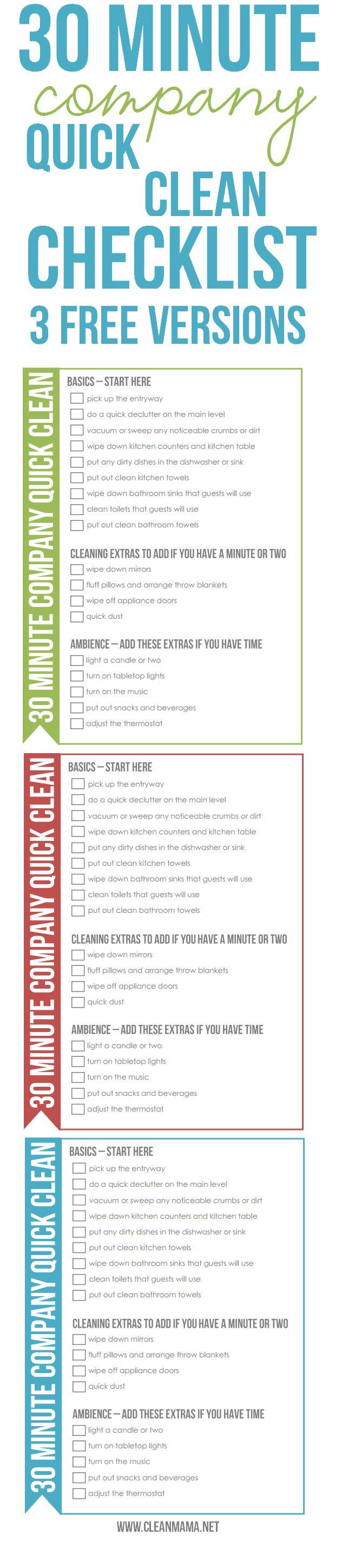 Company dropping by? No need to panic with this handy-dandy 30 Minute Company Quick Clean - 3 FREE Versions via Clean Mama