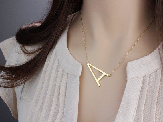 14k Solid Gold Sideways Initial Necklace Personalized Etsy Silver Necklace Statement Initial Necklace Diamond Cross Pendants