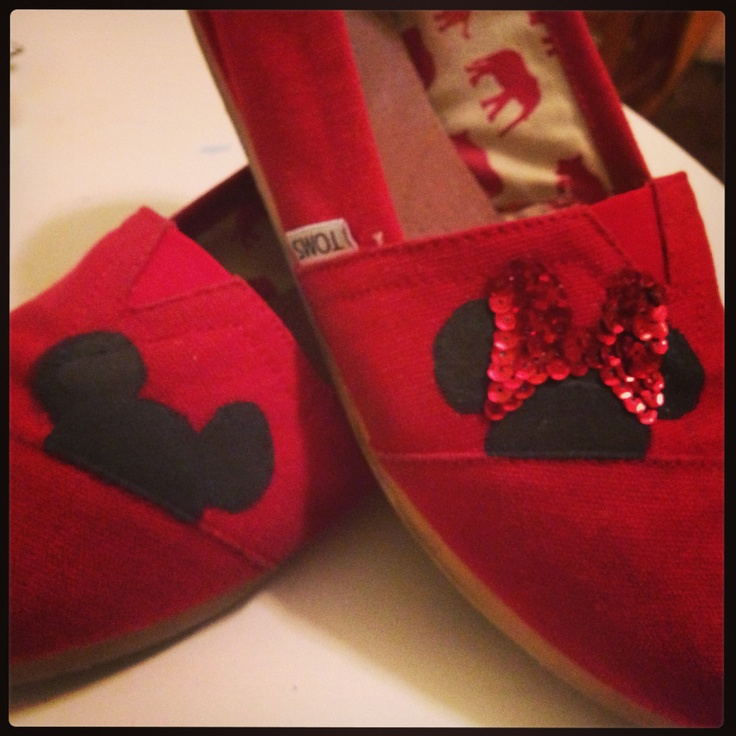 Mickey and Minnie hand decorated TOMS.