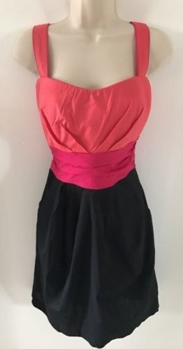 16.83$  Buy here - http://viham.justgood.pw/vig/item.php?t=e3fbwvs0279 - New Maurices Women's Junior Party Dress Orange Pink Black Sleeveless Cotton 9/10
