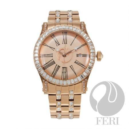 """- Rose gold plated steel metal construction - Cubic zirconia inlaid band and face - Displays date  - Unique roman numeral face design - Protected by a scratch resistant sapphire glass - Provides 10 ATM of water resistance - Features a swiss premium movement - 3 year limited manufacturer warranty - Face: 1.67"""" x 1.67""""  - Band Length: 7.87""""  - Band Width: 0.89"""""""
