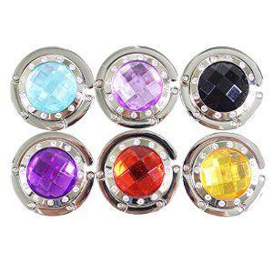 Set of 6 folding compact sparkly coloured crystal gem stone purse bag hangers hooks by Kurtzy TM