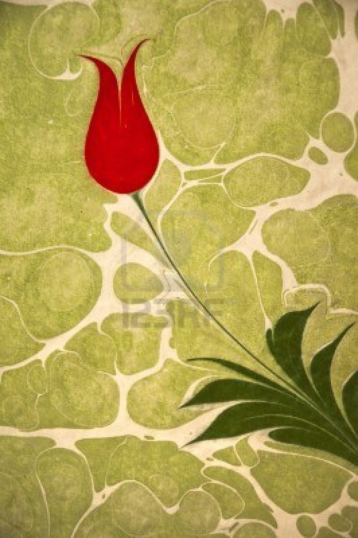 Beautiful tulip artwork painted on water and transferred to parchment, classical Turkish art  Stock Photo