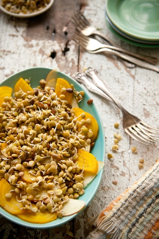 Sprouted Lentil Salad with Golden Beets and Fuji Apples