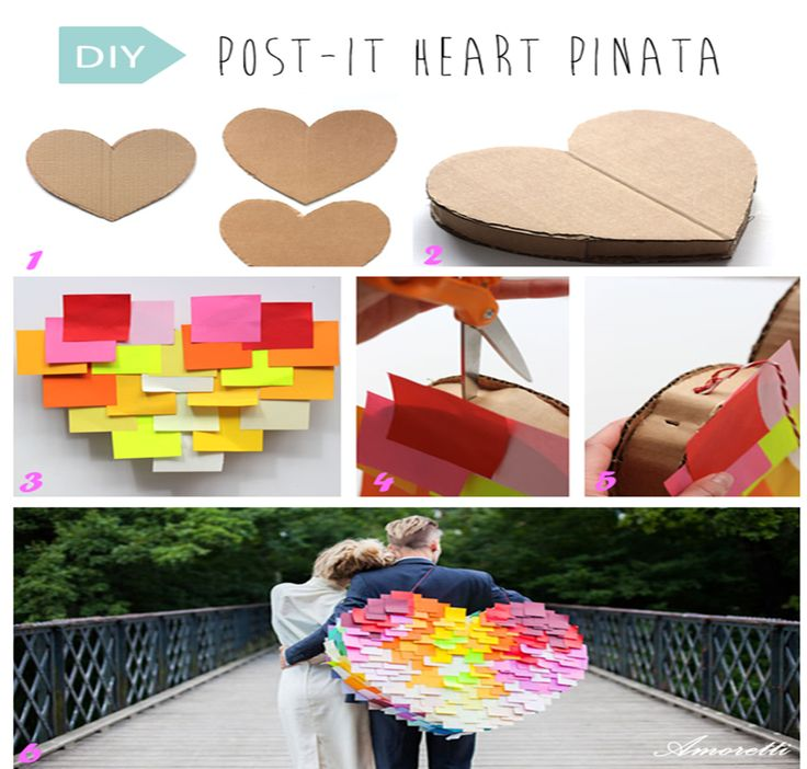 DIY: Post-it Heart PinataStep 1: Draw 2 hearts of the same size on a cardboard. Then cut them. Step 2: Make strips of cardboard and curl them. Then, glue the strips to the hearts to create a big heart box. Step 3: Start gluing the post it with a glue gun, starting by the bottom. Step 4: Punch two holes on either side of the arch of the heart. Step 5: Bring a string through and tie on top Step 6: TADAAAAAA !  #DIY #pinata #heart #wedding #inspiration