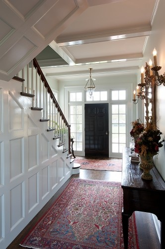 traditional entry by V Fine Homes: Houses, Idea, Stairs, Doors Design, Black Doors, Black Front Doors, Black Interiors Doors, Homes, Traditional Entry