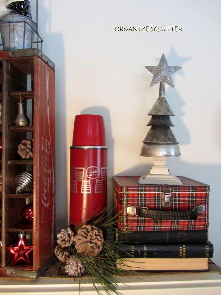 vintage rustic christmas mantel, christmas decorations, repurposing upcycling, seasonal holiday decor, My funnel tree and vintage plaid lunch box and thermos