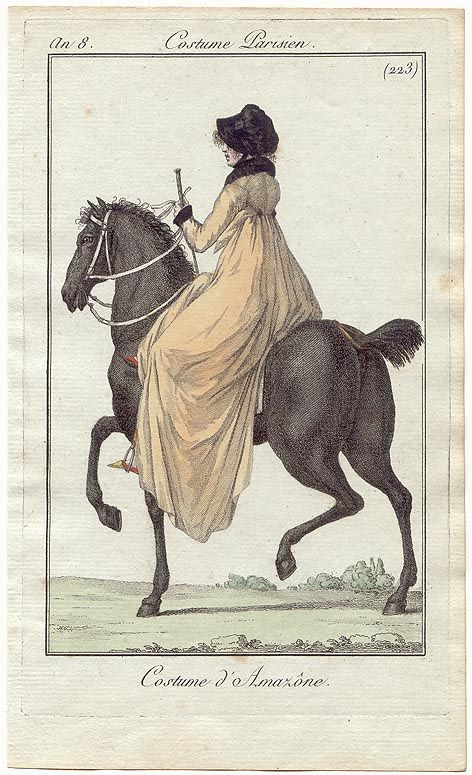 """French Fashion Plate (""""Costume Parisien"""") from 1799 (""""An 8""""), showing a Regency Lady's Horseback Riding Outfit."""