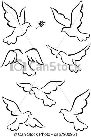 Vector - Duif - stock illustratie, royalty-vrije illustraties, stock clip art symbool, stock clipart pictogrammen, logo, line art, EPS beeld, beelden, grafiek, grafieken, tekening, tekeningen, vector afbeelding, artwork, EPS vector kunst