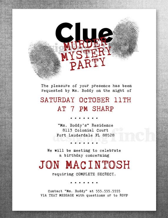 Clue birthday invitation murder mystery party for Secret dinner party