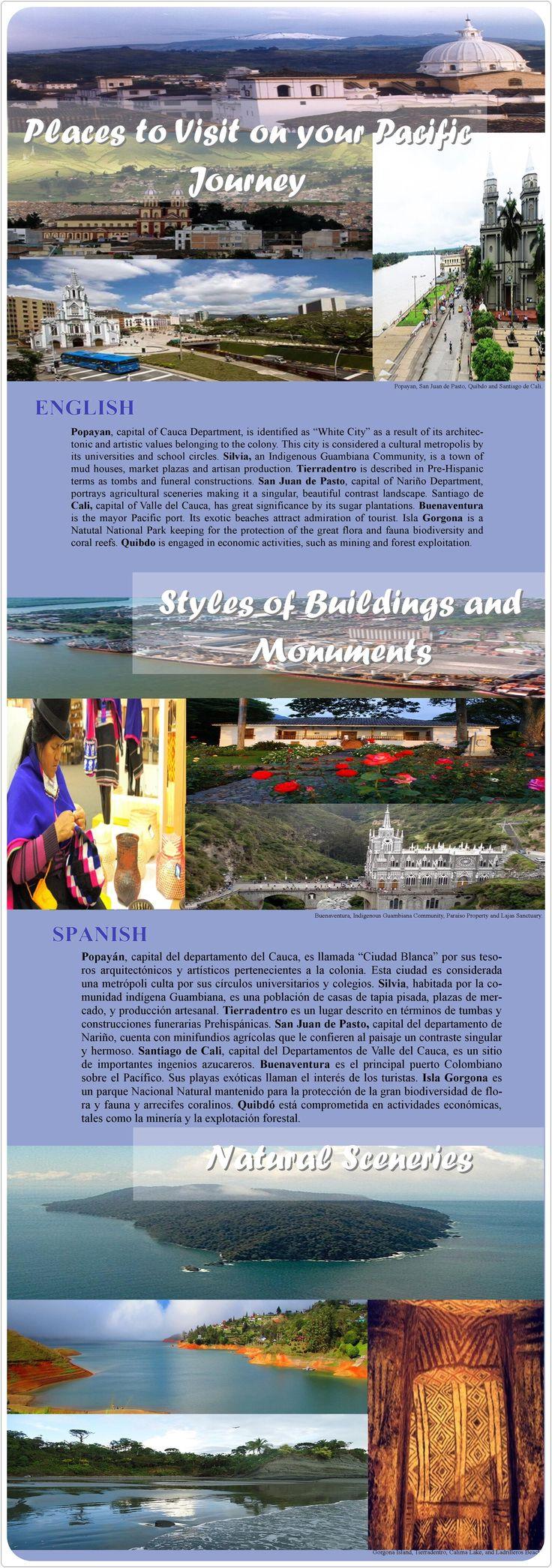 Places to Visit on your Pacific Journey: Popayan, San Juan de Pasto, Quibdo and Santiago de Cali, Buenaventura, Indigenous Guambiana Community, Paraíso Property, Lajas Sanctuary,  Gorgona Island, Tierradentro, Calima Lake, and Ladrilleros Beach.