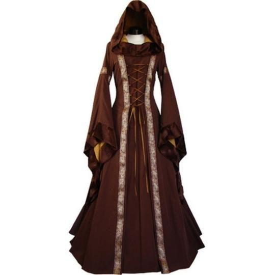 5dc91e8977934 Women 2018 Fashion Long Sleeve Dress Medieval Renaissance Vintage ...