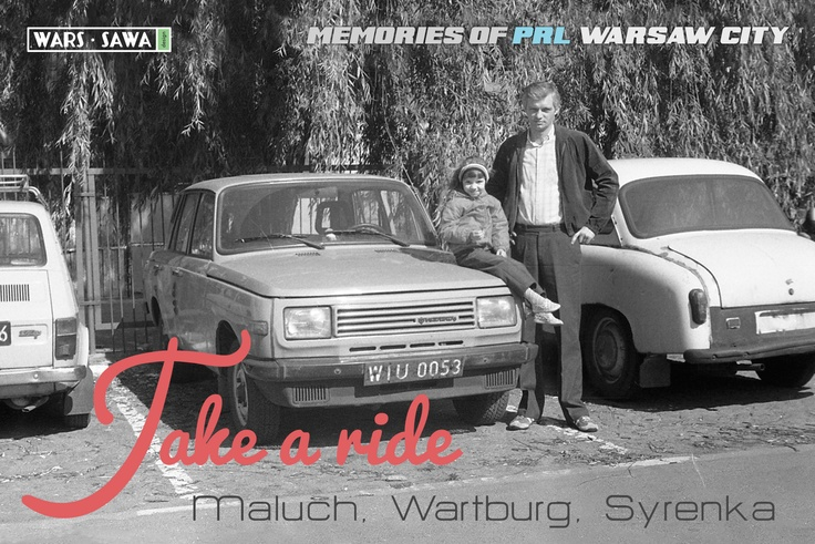 Take a ride!  Maluch, Wartburg, Syrenka.  Postcard by Wars Sawa Design, Warszawa, Warsaw, Memories of PRL.